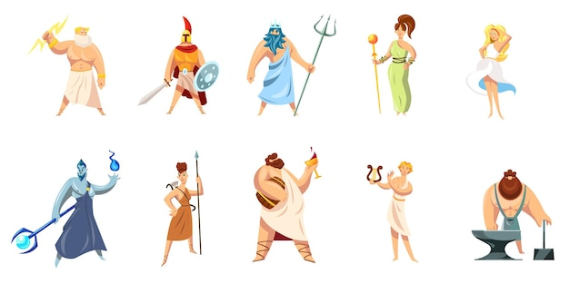 Greek mythology characters collection. athena, hephaestus, ares, poseidon, zeus, dionysus, hephaestus, aphrodite, apollo.