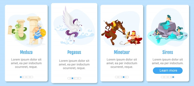 Greek mythology onboarding mobile app screen  template. mythological creatures and monsters. walkthrough website steps with flat characters. ux, ui, gui smartphone cartoon interface concept