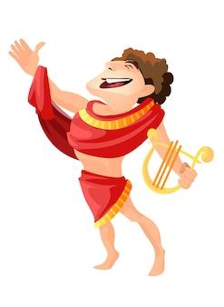 Греческий или римский бог стрельбы из лука, музыки и танцев. изолированный аполлон, мужской персонаж с мифологией и легендами арфы. зевс сын богословия, житель олимпа, медицина и покровительство исцелению молодежи.