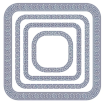 Greek ornament frame with rounded corners - meander style pattern border