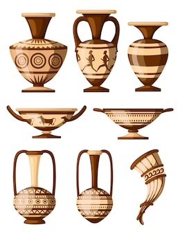 Greek pottery icon collection. amphora with patterns, rhyton, kylix. greek or roman culture. brown color and patterns.   illustration  on white background.