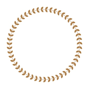 Greek round frame with olive tree leaves.