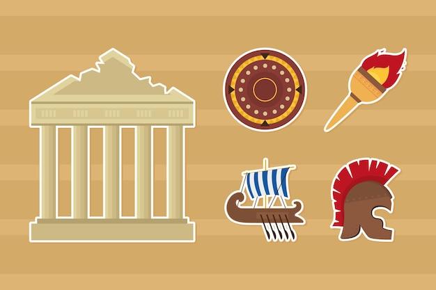 Greek ruins and symbols