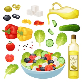 Greek salad illustration, 3d cartoon healthy food menu ingredients, cooking vegetarian lunch set isolated on white