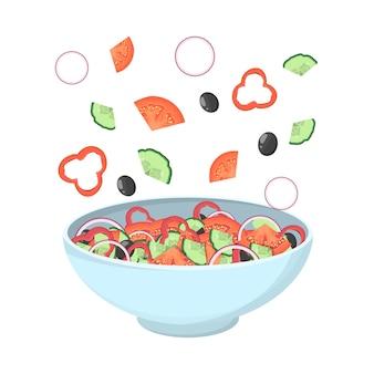 그릇에 그리스 샐러드입니다. 유기농 건강 식품. 오이와 토마토, 페타 치즈와 후추, 소금과 오레가노. 재료 세트. 삽화