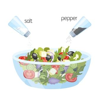 그릇에 그리스 샐러드입니다. 유기농 건강 식품. 오이와 토마토, 페타 치즈와 후추와 소금. 삽화