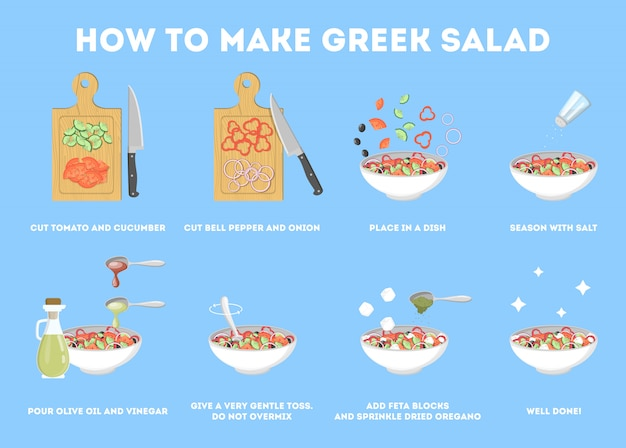 Greek salad recipe for vegetarian. healthy ingredient for tasty food. cucumber and olive oil, tomato and cheese. fresh vegetable meal.    illustration