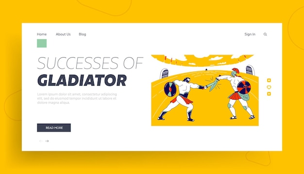 Greek soldier with shield battle show landing page template.