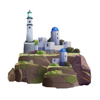 아름다운 녹색 섬이나 가파른 해안에있는 그리스 스타일의 등대와 주택 단지. 아름다운 하얀 등대와 흰색 배경에 녹색 섬에 주택