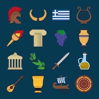 Greek symbol icon collection