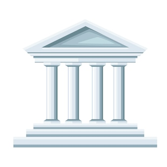 Greek temple illustration. bank icon.   .  illustration  on white background. web site page and mobile app.