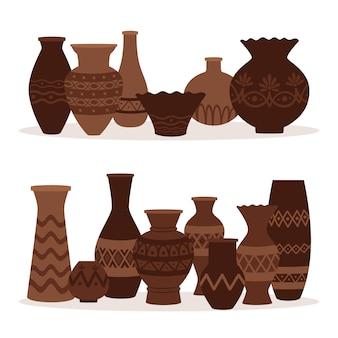 Греческие вазы. древние декоративные горшки на белом фоне