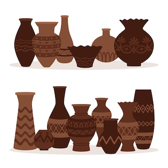 Greek vases. ancient decorative pots isolated on white background