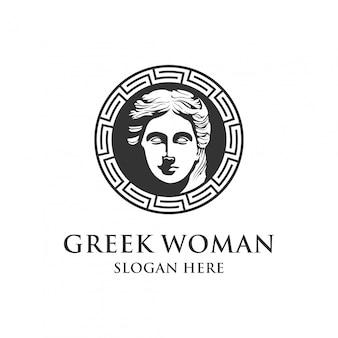 Греческая женщина логотип дизайн шаблона