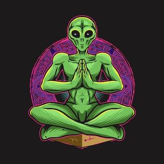 Greem alien doing yoga illustration