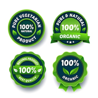 Green 100% natural badge collection