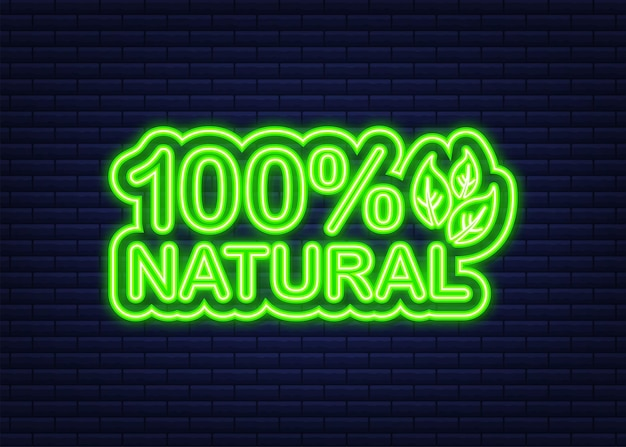 네온 스타일의 내츄럴 그린 100. 채식 건강 식품입니다. 자연, 생태. 벡터 재고 일러스트 레이 션.