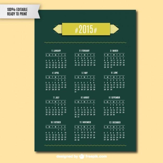 Green 2015 calendar