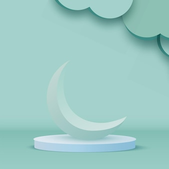 Green 3d crescent moon on pedestal