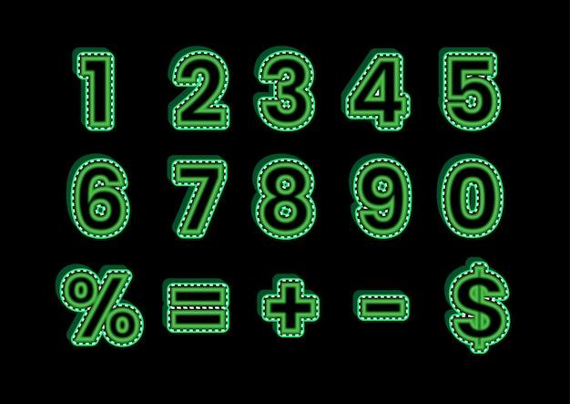 緑の3d緑の活版印刷の記号番号セット