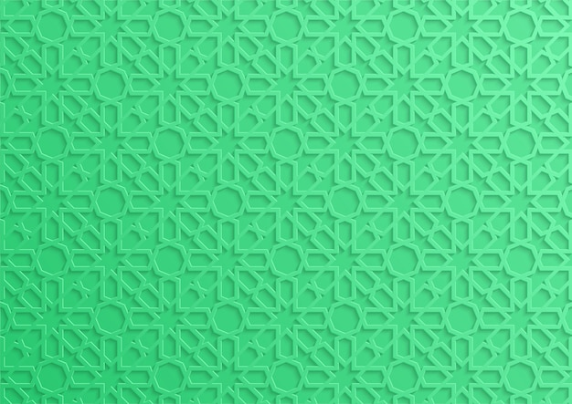 Green 3d islamic geometrical pattern