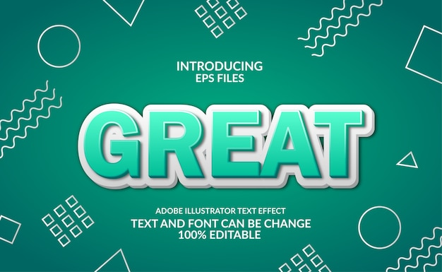 Green 3d modern emboss. memphis background on board. editable font and text style effect.