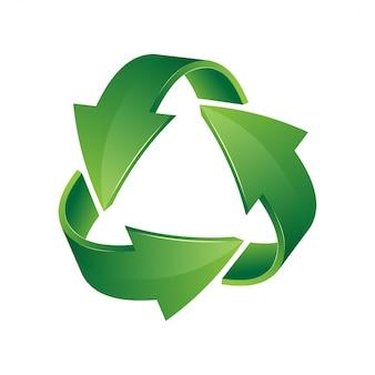 Зеленый значок 3d корзины. знак рециркуляции на белом фоне