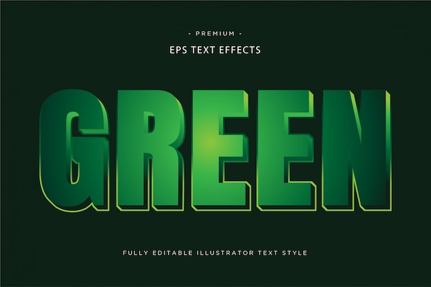 Green 3d text effect