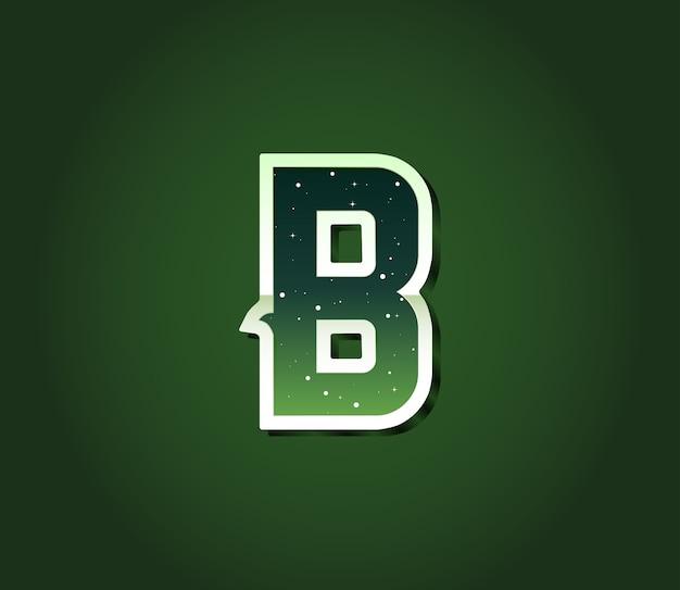 별이있는 녹색 80 년대 복고풍 글꼴