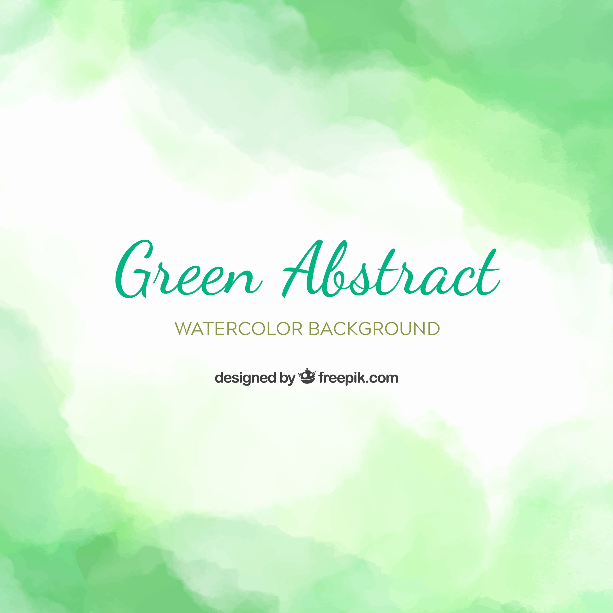 Green abstract background in watercolor style