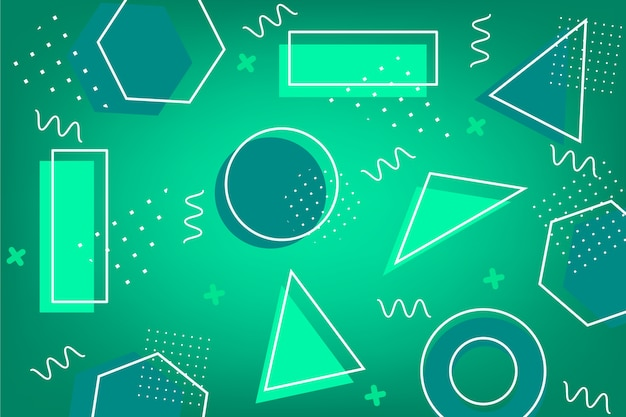 Green abstract background with different shapes