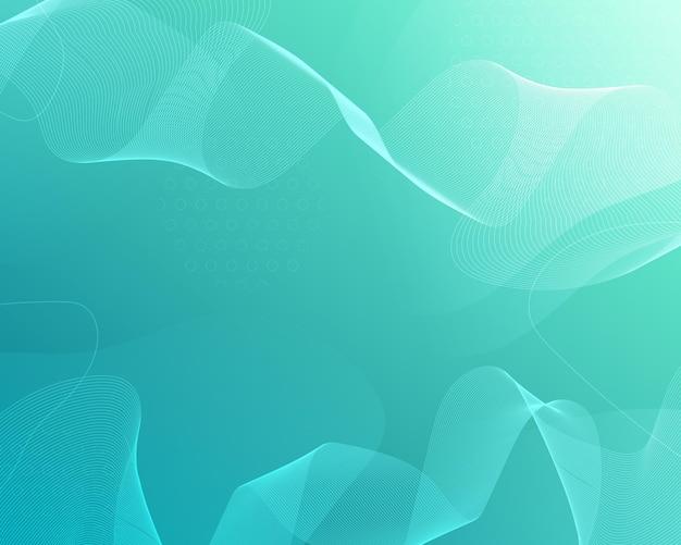 Зеленый абстрактный фон с волнистыми линиями