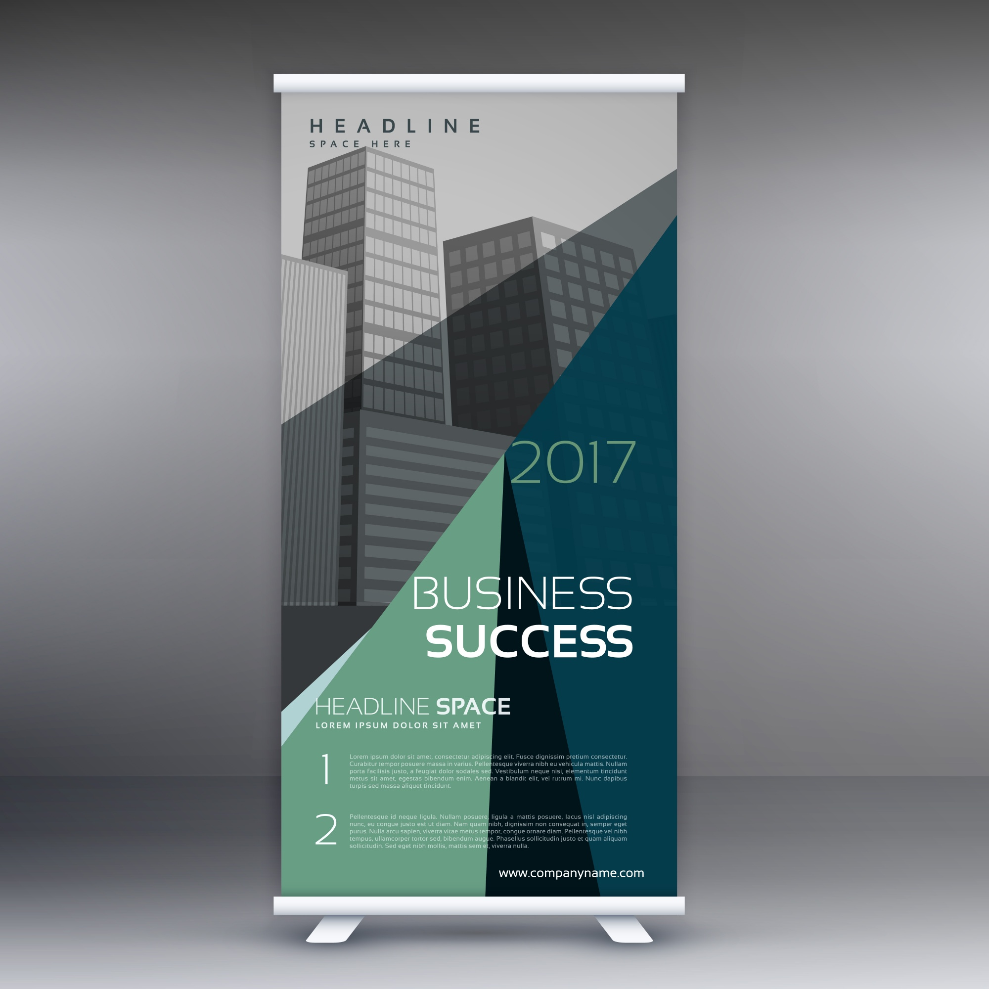 Green abstract business standee template