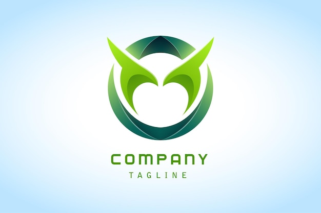 Green abstract circle with horn gradient logo corporate