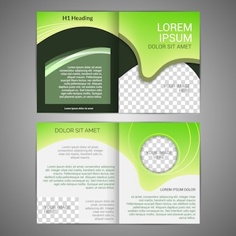 Green abstract design paper brochure leaflet design back and front template