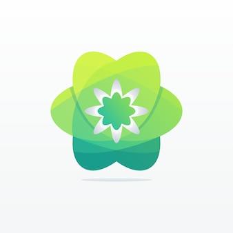 Green abstract flower logo