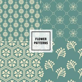 녹색 추상적 인 꽃 패턴