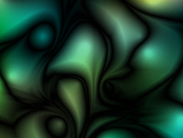 Green abstract futuristic glossy background with fabric, silk texture and ambient occlusion effect