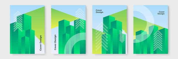 녹색 추상 그라데이션 기하학적 표지 디자인, 최신 유행 브로셔 템플릿, 다채로운 미래 포스터. 벡터 일러스트 레이 션