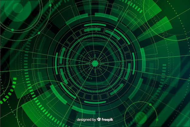 Green abstract hud technology background