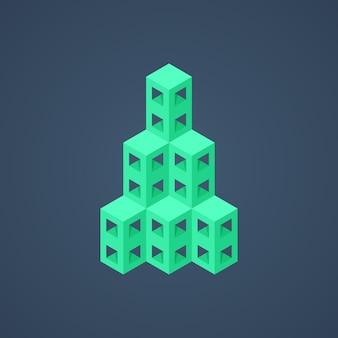 녹색 추상 아이소메트릭 건물 아이콘입니다. 브랜딩, 고층 마천루, 인포 그래픽 요소의 개념. 어두운 배경에 고립. 3d 스타일 유행 현대 로고 디자인 eps10 벡터 일러스트 레이 션