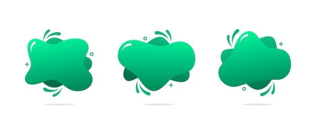 녹색 추상적 인 액체 배경 세트