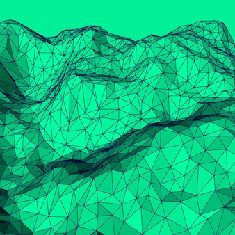 Green abstract lowpoly polygonal triangular mosaic elevation background vector illustration