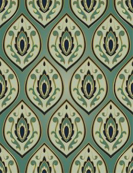 Зеленый абстрактный орнамент. шаблон для ковра, обоев, шали, текстиля.