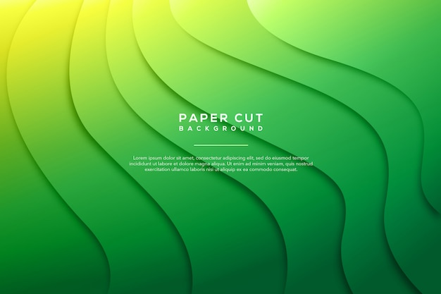 Green abstract paper cut background