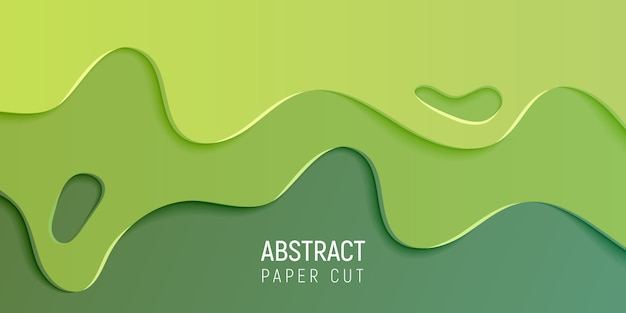 Green abstract paper cut slime background