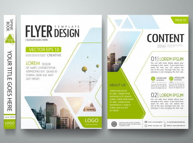 Green abstract square in cover book portfolio presentation poster.