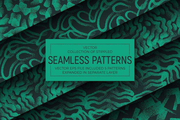 Green abstract stippled seamless patterns set
