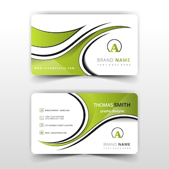 Green abstract swirl business card