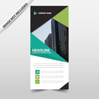 グリーン抽象的な三角形ビジネスロールアップバナーフラットデザインテンプレート